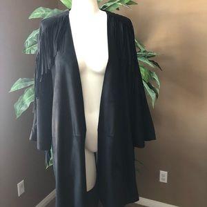 Medium Zara black jacket with fringe nwt